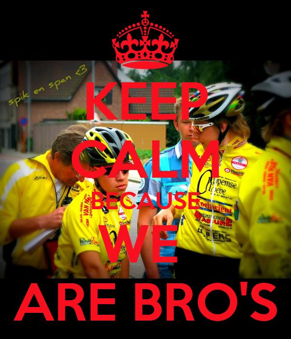 KEEP CALM BECAUSE WE  ARE BRO'S