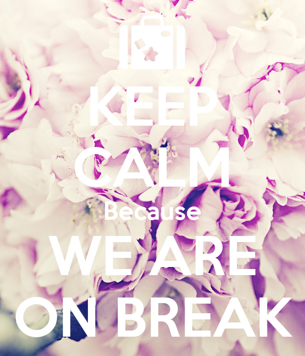 KEEP CALM Because WE ARE ON BREAK