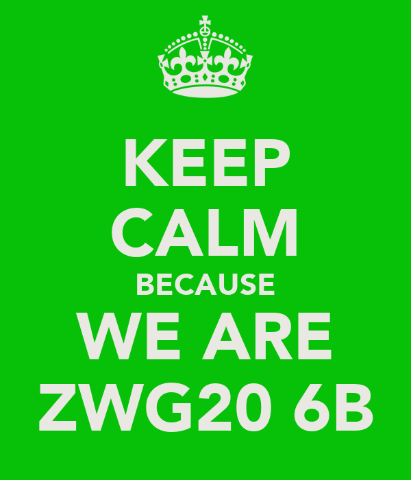 KEEP CALM BECAUSE WE ARE ZWG20 6B
