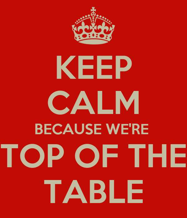 KEEP CALM BECAUSE WE'RE   TOP OF THE  TABLE