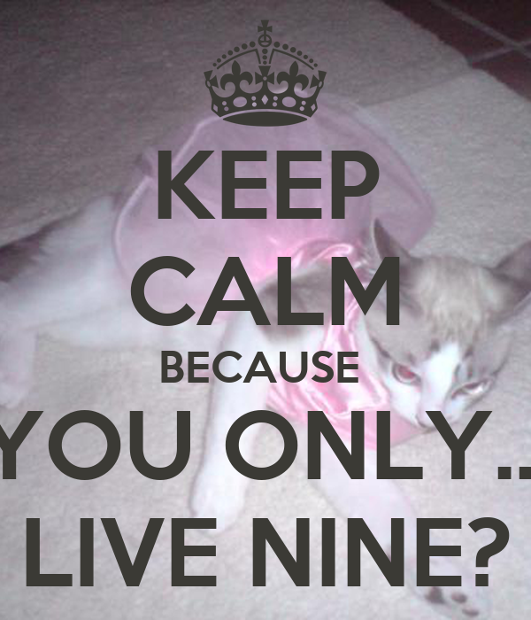 KEEP CALM BECAUSE  YOU ONLY... LIVE NINE?