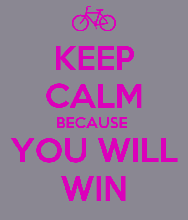 KEEP CALM BECAUSE  YOU WILL WIN