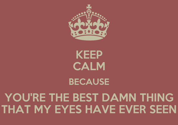 KEEP CALM BECAUSE YOU'RE THE BEST DAMN THING THAT MY EYES HAVE EVER SEEN