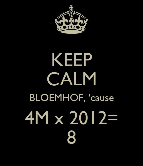KEEP CALM BLOEMHOF, 'cause  4M x 2012=  8