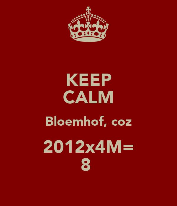 KEEP CALM Bloemhof, coz 2012x4M= 8