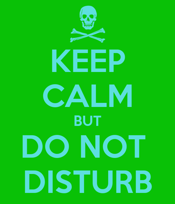 KEEP CALM BUT DO NOT  DISTURB