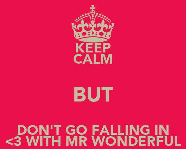 KEEP CALM BUT DON'T GO FALLING IN <3 WITH MR WONDERFUL