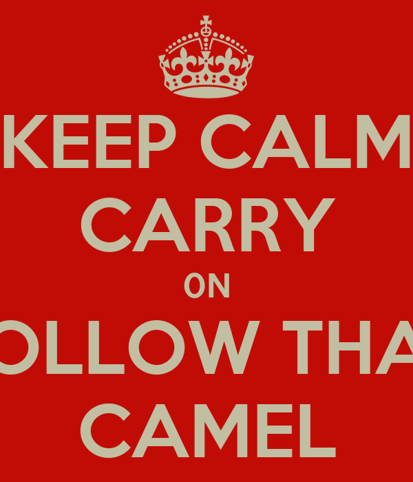 KEEP CALM CARRY 0N FOLLOW THAT CAMEL