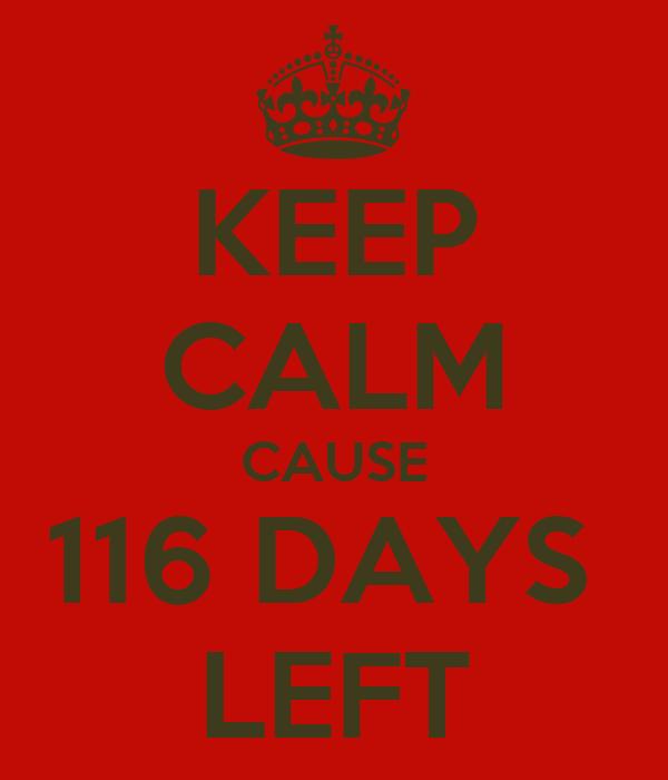 KEEP CALM CAUSE 116 DAYS  LEFT