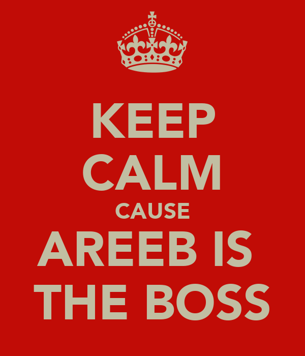 KEEP CALM CAUSE AREEB IS  THE BOSS