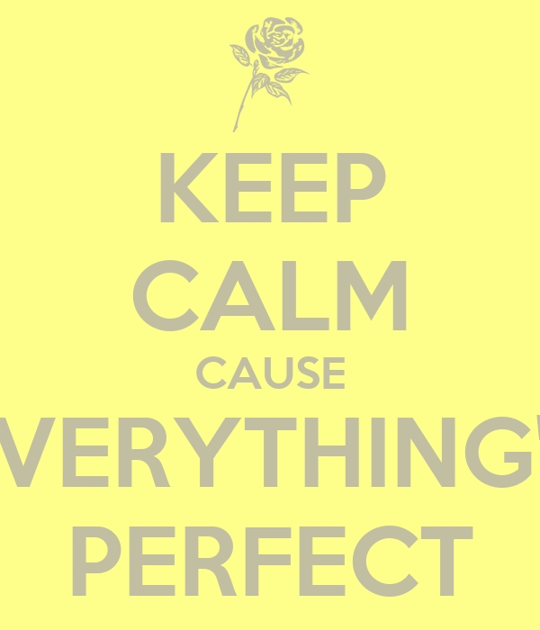 KEEP CALM CAUSE EVERYTHING'S PERFECT