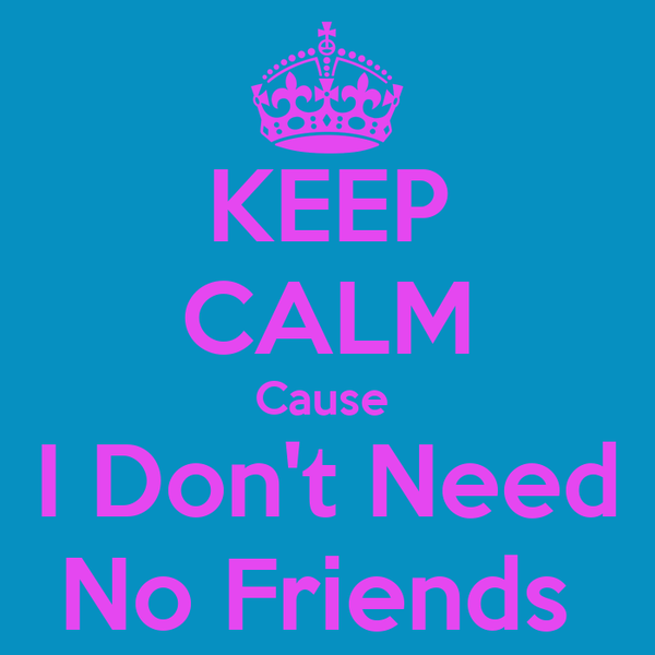KEEP CALM Cause   I Don't Need  No Friends