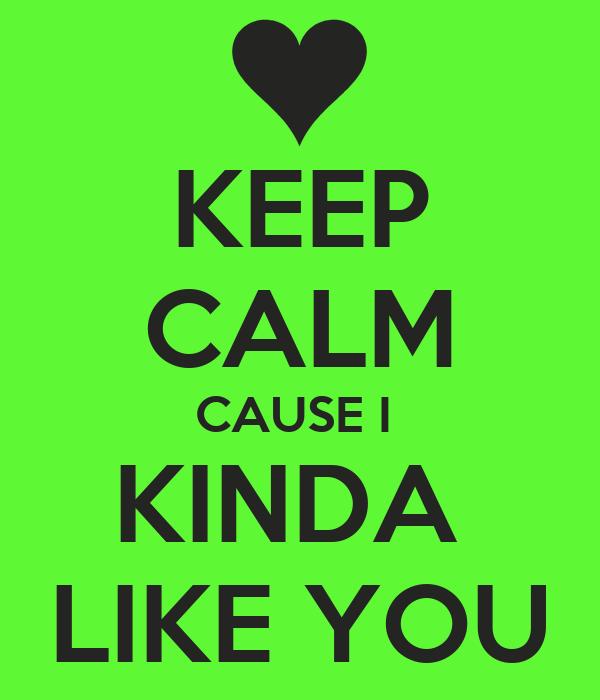 KEEP CALM CAUSE I  KINDA  LIKE YOU