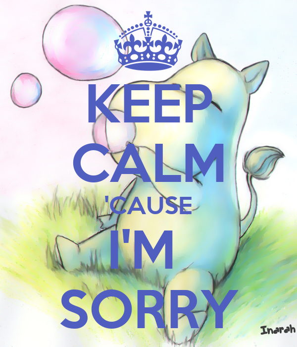 KEEP CALM 'CAUSE I'M  SORRY