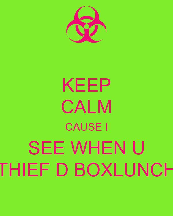 KEEP CALM CAUSE I SEE WHEN U THIEF D BOXLUNCH