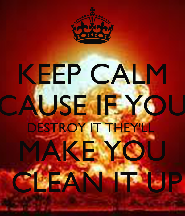 KEEP CALM CAUSE IF YOU DESTROY IT THEY'LL  MAKE YOU  CLEAN IT UP
