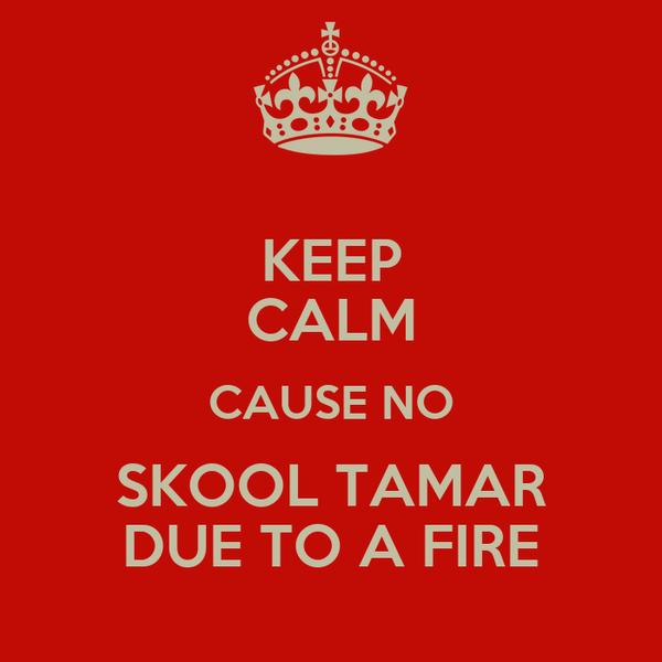 KEEP CALM CAUSE NO SKOOL TAMAR DUE TO A FIRE
