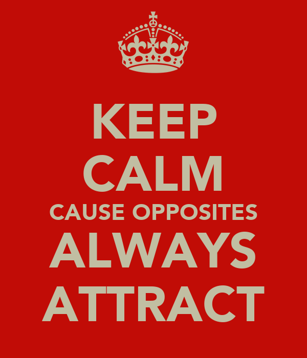 KEEP CALM CAUSE OPPOSITES ALWAYS ATTRACT