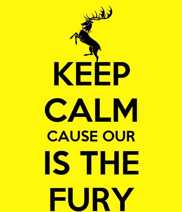 KEEP CALM CAUSE OUR IS THE FURY