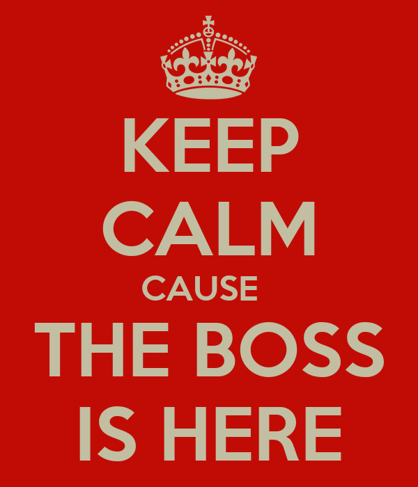 KEEP CALM CAUSE   THE BOSS IS HERE