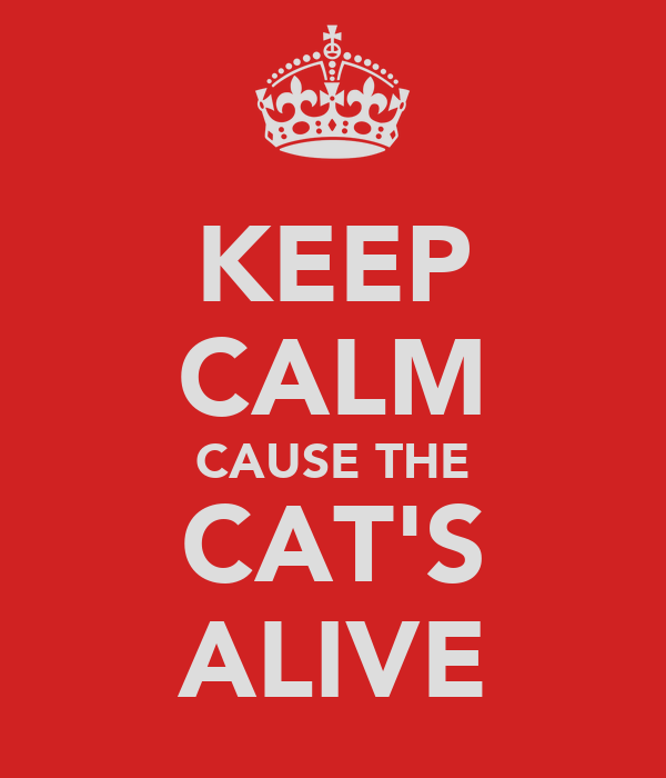 KEEP CALM CAUSE THE CAT'S ALIVE