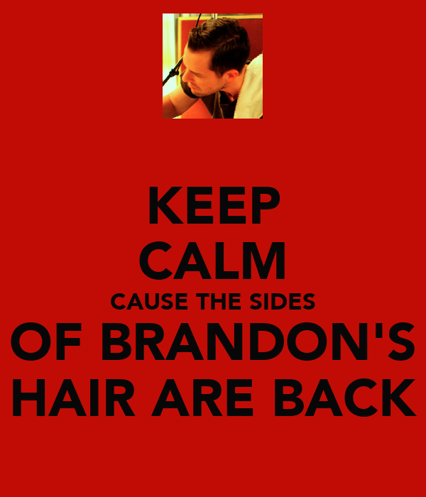KEEP CALM CAUSE THE SIDES OF BRANDON'S HAIR ARE BACK