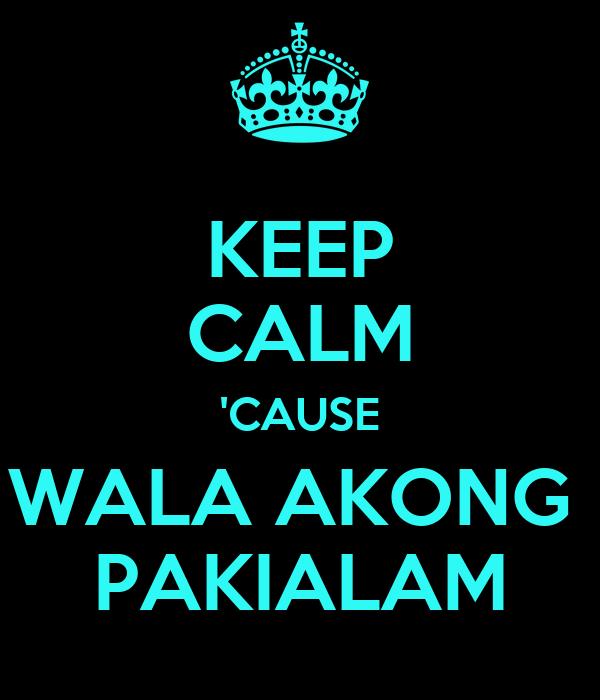 KEEP CALM 'CAUSE WALA AKONG  PAKIALAM