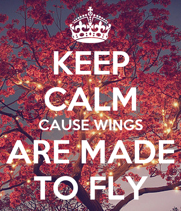 KEEP CALM CAUSE WINGS ARE MADE TO FLY