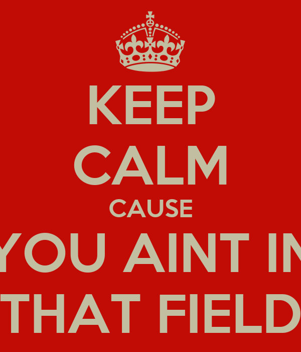 KEEP CALM CAUSE YOU AINT IN THAT FIELD