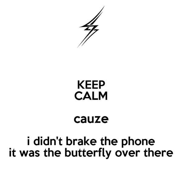 KEEP CALM cauze i didn't brake the phone it was the butterfly over there
