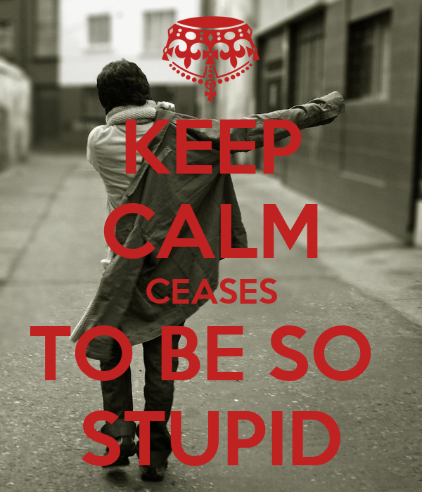 KEEP CALM CEASES TO BE SO  STUPID