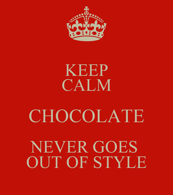 KEEP CALM CHOCOLATE NEVER GOES  OUT OF STYLE