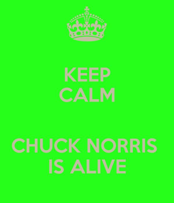 KEEP CALM  CHUCK NORRIS  IS ALIVE
