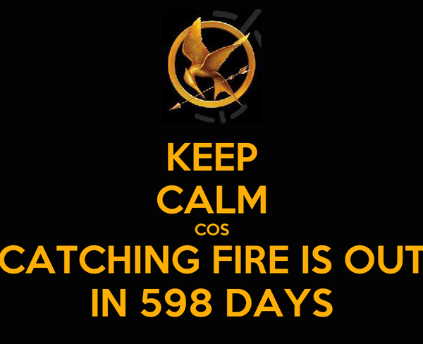 KEEP CALM COS CATCHING FIRE IS OUT IN 598 DAYS