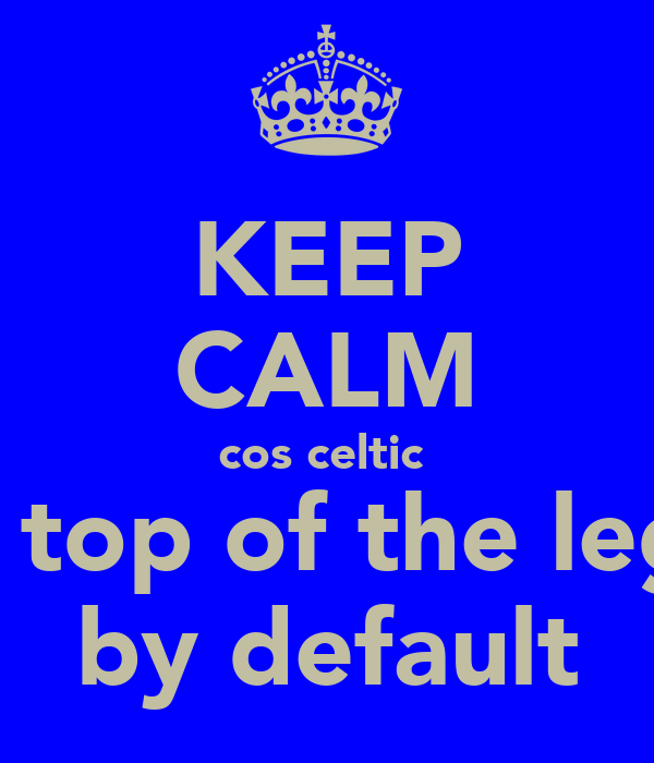 KEEP CALM cos celtic  are top of the legue by default
