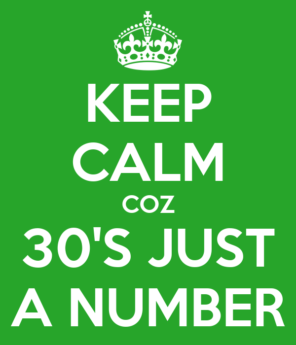 KEEP CALM COZ 30'S JUST A NUMBER