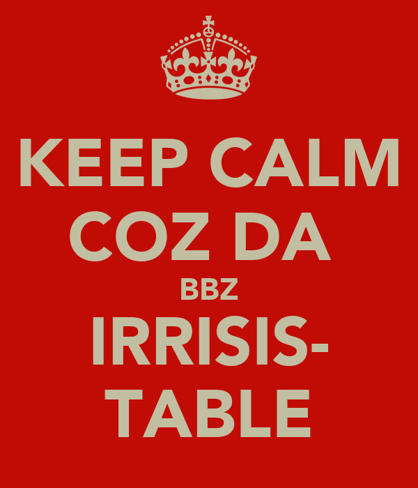 KEEP CALM COZ DA  BBZ IRRISIS- TABLE