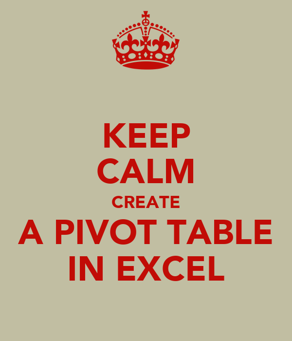 KEEP CALM CREATE A PIVOT TABLE IN EXCEL