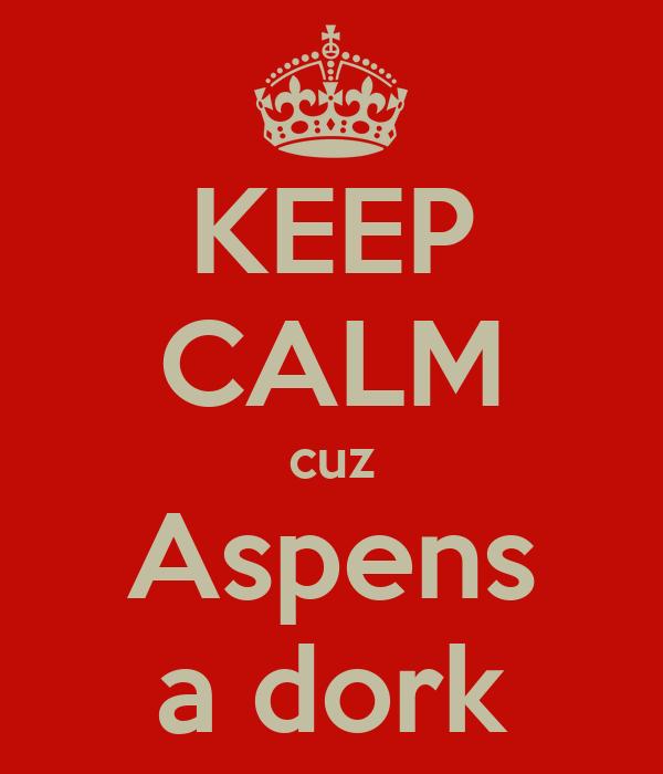 KEEP CALM cuz Aspens a dork