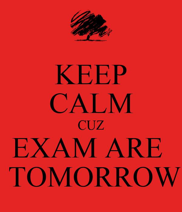KEEP CALM CUZ EXAM ARE   TOMORROW