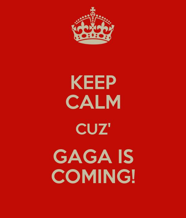 KEEP CALM CUZ' GAGA IS COMING!
