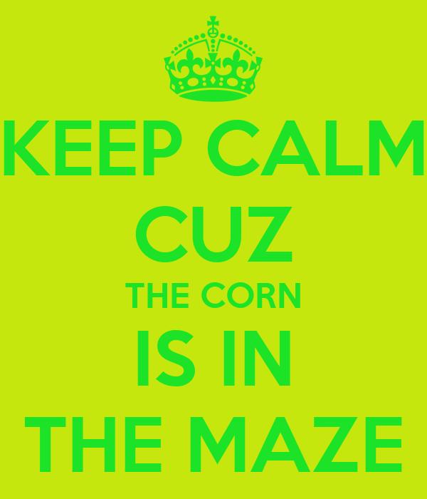 KEEP CALM CUZ THE CORN IS IN THE MAZE