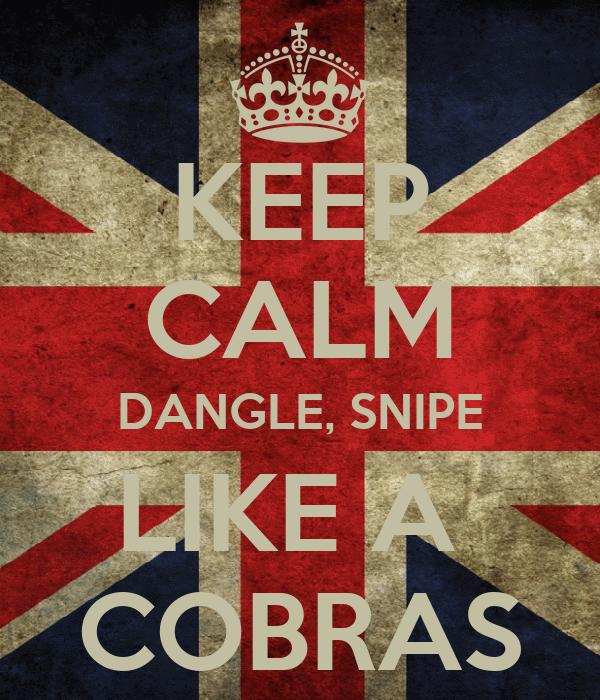 KEEP CALM DANGLE, SNIPE LIKE A  COBRAS