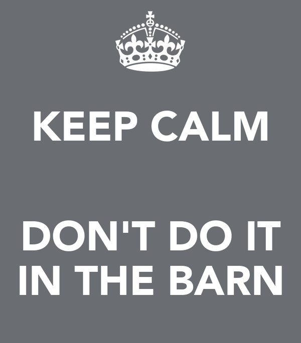 KEEP CALM   DON'T DO IT IN THE BARN