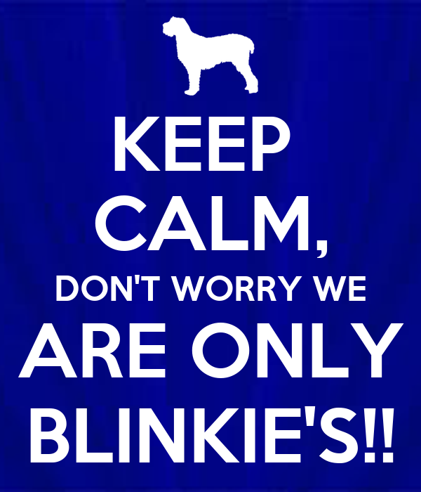 KEEP  CALM, DON'T WORRY WE ARE ONLY BLINKIE'S!!