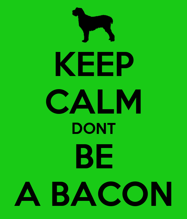 KEEP CALM DONT BE A BACON