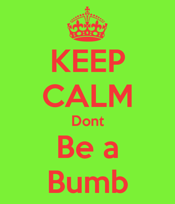KEEP CALM Dont Be a Bumb