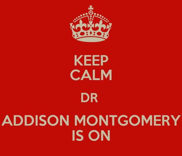 KEEP CALM DR  ADDISON MONTGOMERY IS ON