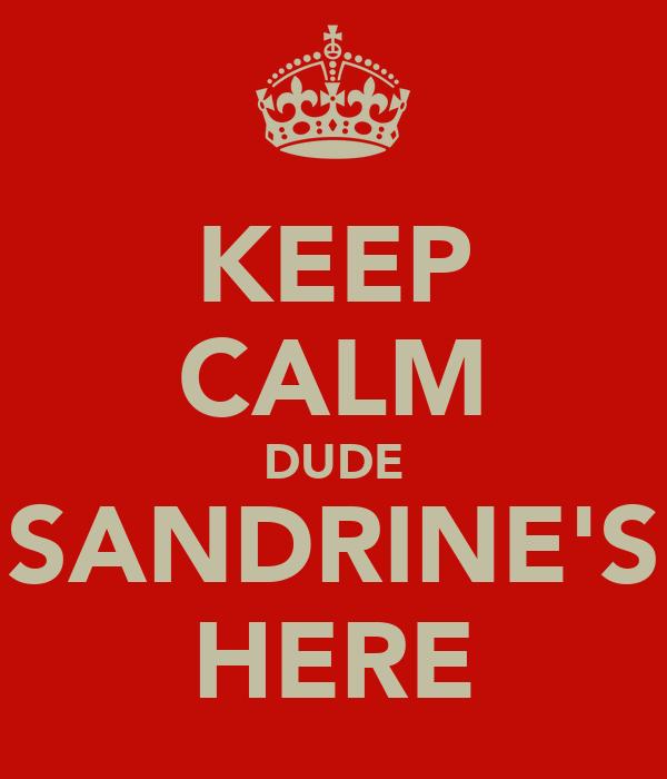 KEEP CALM DUDE SANDRINE'S HERE