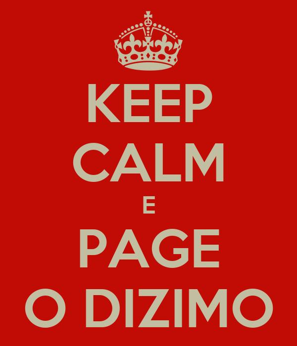 KEEP CALM E PAGE O DIZIMO